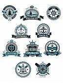 stock photo of marines  - Vintage blue marine badges and icons including ship - JPG