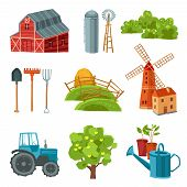 stock photo of haystack  - Farm decorative multicolored set with barn tractor windmill haystack silo tower tree bushes watering can spade rake pitchfork isolated vector illustration - JPG