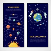 image of earth mars jupiter saturn uranus  - Solar system and space exploration concept isolated banners flat vector illustration - JPG