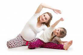 picture of pregnancy exercises  - Family doing gymnastics - JPG