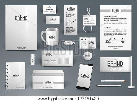 Corporate identity template. Branding design with logo.  Letter envelope, card, catalog, pen, pencil