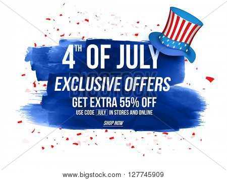 4th of July Exclusive Offers Sale, Sale Poster, Sale Banner, Sale Flyer, Extra Discount Offer, 55% O