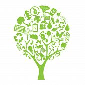 stock photo of environmentally friendly  - Green tree made of eco friendly elements - JPG