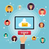 Running Campaign, Email Advertising, Direct Digital Marketing. Email Marketing. Set Of People Avatar poster