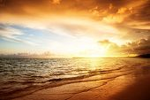 stock photo of beach sunset  - sunrise and atlantic ocean in Dominican republic - JPG