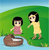 Baby Moses in Nile River - Vector