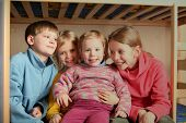 stock photo of bunk-bed  - happy children in child - JPG