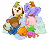 stock photo of slumber party  - Animal Pajama Party  - JPG