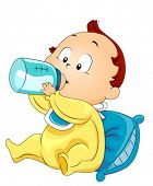 stock photo of baby-boy  - Baby drinking Milk  - JPG