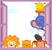 picture of peep  - Illustration of Zoo Animals Peeping at the Window - JPG