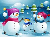 stock photo of snowball-fight  - Illustration of Snowmen Having a Snowball Fight - JPG