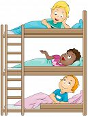 foto of bunk-bed  - Illustration of Kids in a Camp Sharing Stories with One Another - JPG