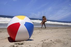 picture of beach-ball  - beach ball in the sand - JPG