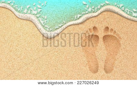 poster of Beach Sand Footprint Ocean Coast Sea Azure Wave With Bubble. Vector Realistic Illustration. Tropical