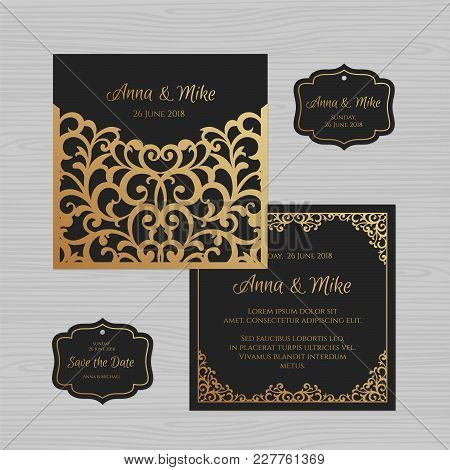 poster of Wedding Invitation Or Greeting Card With Vintage Ornament. Paper Lace Envelope Template. Wedding Inv