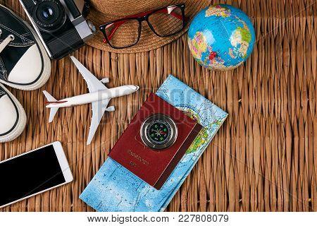 poster of Passport Travel Document Photo Camera Sunglasses Globe Map, Top View. Summer Vacation, Travel, Touri