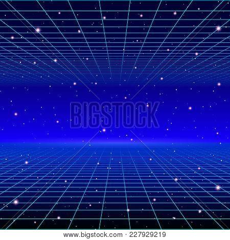 Retro Neon Background With 80s