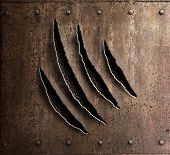 claw marks on rusty metal armor with rivets 3d illustration poster