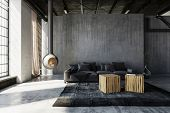Minimalist industrial loft conversion living room with grey sofa and tables against grunge concrete  poster