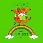 Saint Patricks Day Card With Foxes And Irish Simbols poster