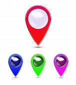 Map Marker, Map Pin Vector. Map Markers With Circles With Blank Space. poster