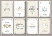Vintage Creative Cards Template With Beautiful Flourishes Ornament Elements. Elegant Design For Corp poster