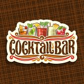 Vector Logo For Cocktail Bar, Vintage Cut Paper Sign With 5 Colorful Refreshing Mocktails And Origin poster