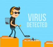 Virus Scanning And Detection In Computer System. Antivirus Hunter Found The Infection In Folder Vect poster