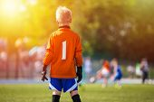 Young Soccer Goalie Goalkeeper. Young Boy Soccer Goalie. Soccer Game On Sunny Summer Day. Sport Acti poster