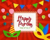 Happy Purim Celebration Background. Carnival Masks, Balloons, Calligraphic Text. Happy Purim In Hebr poster