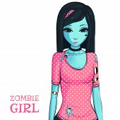 Zombie Girl On White Background. Zombie Apocalypse. Sad Girl In Pink Shirt poster