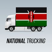 Symbol Of National Delivery Truck With Flag Of Kenya. National Trucking Icon And Kenyan Flag poster