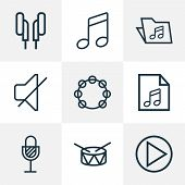 Audio Icons Line Style Set With Tambourine, Drum, Mute And Other Barrel Elements. Isolated Vector Il poster