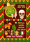 Cinco De Mayo Mexican Fiesta Party Poster Or Mexico National Holiday Celebration Greeting Card. Vect poster