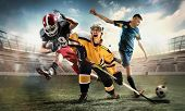 Irresistible In Attack. Rage.multi Sports Collage With Hockey, Soccer, American Football Players. Co poster