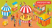 Isometric Amusement Park Circus Horizontal Composition With View Of Entertainment Park With Attracti poster