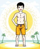 Child Young Teen Boy Cute Standing In Colorful Stylish Beach Shorts. Vector Human Illustration. Fash poster