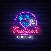Tropical Cocktail Neon Sign. Cocktail Logo, Neon Style, Light Banner, Night Bright Neon Advertising  poster