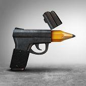 Gun Education Or Guns Safety Learning Or School Shooting Concept As A Handgun Pistol Shaped As A Pen poster