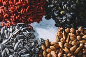 A mix of Brasilian nuts, almonds, pumpkin seeds, dried goji berries and sunflower seeds. Healthy sna poster
