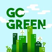 Green City Flat Art Concept For Environment Care poster
