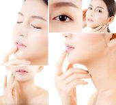 Collage Of Several Photos For Beautiful Asian Woman Makeup Of Cosmetic, Girl Hand Touch Cheek, Face  poster