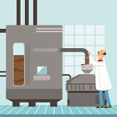 Machine For The Production Of Chocolate, Confectioner Controlling The Production Process Vector Illu poster