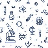 Seamless Pattern With Laboratory Equipment, Attributes Of Science, Scientific Experiment, Research D poster