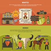 Horizontal Banners With Sheriffs Attributes, Wanted Person Poster With Reward, Cowboy Accessories Fo poster
