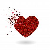 Crashed Red Glitter Heart Silhouette Isolated On White Background. Sharp Glowing Particles. Symbol O poster