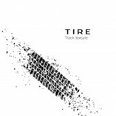 Dirt Track From The Car Wheel Protector. Tire Track Silhouette. Grunge Tire Track. Black Tire Track. poster