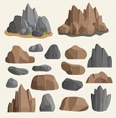 Stones Rocks In Cartoon Style Big Building Mineral Pile. Boulder Natural Rocks And Stones Granite Ro poster