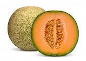 image of melon  - orange cantaloupe melon isolated on white background - JPG