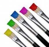 pic of paint brush  - Paint brushes on white - JPG